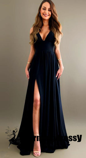Black Long V-neck Sexy Side Split Cheap Simple Bridesmaid Dresses, Prom dresses ,WG294