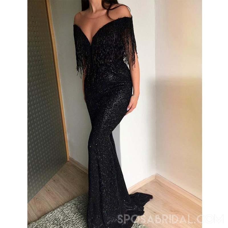 Black Modest Hot Sale  Sequin Mermaid Prom Dresses With Tassel , Long Evening Dress, PD1130