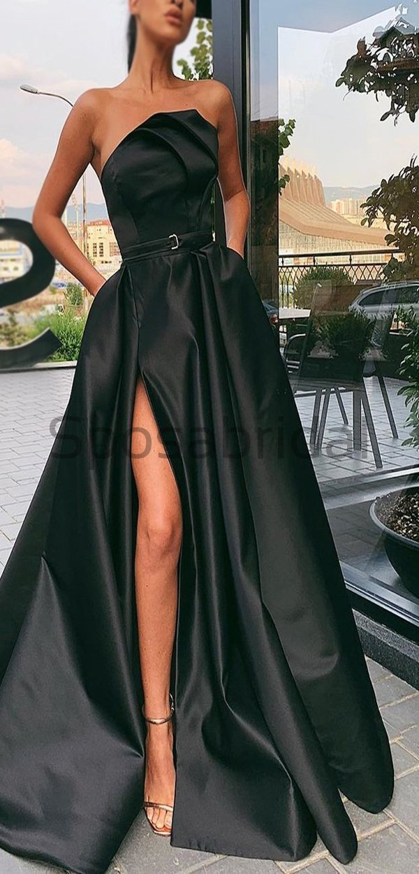 Black Satin High Slit A-line Popular Modest Fashion Long Prom Dresses PD1551