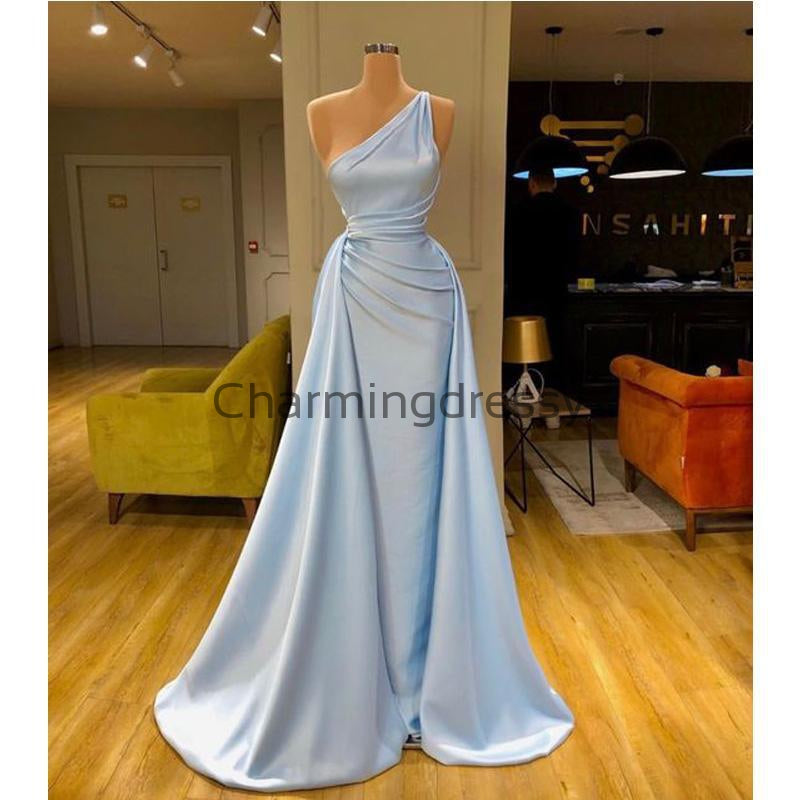 Blue Cheap Unique Formal Simple One Shoulder Prom Dresses PD2199