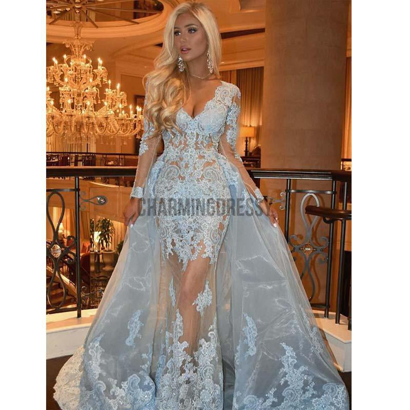 Blue Lace Long Sleeves V-Neck Popular Formal Prom Dresses PD1964