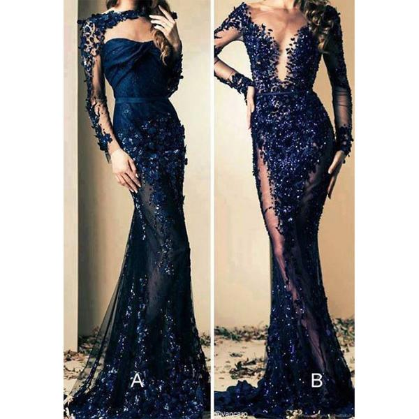 Blue Mermaid Long Sleeves Beaded Lace Modest Fashion Prom Dresses, evening dresses,PD1024 - SposaBridal