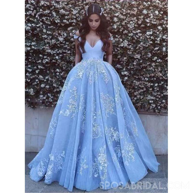 Blue Off  The Shhoulder V-Neck Long Prom Gown, Formal High  Quality Floor-length Prom Dresses,PD1147