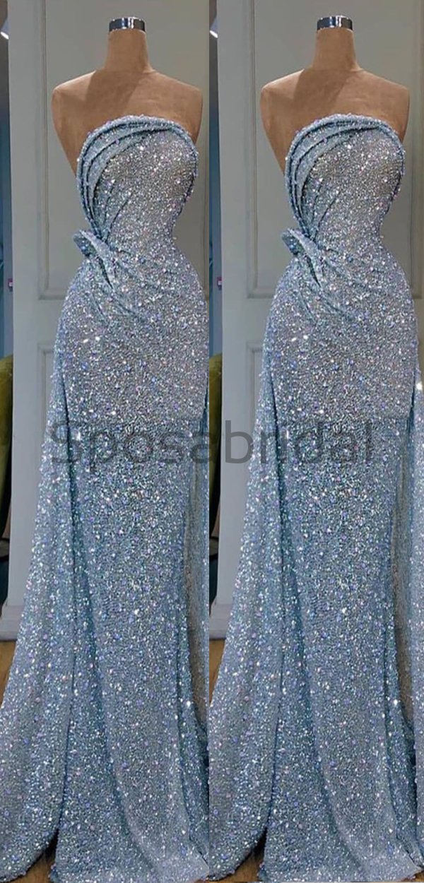 Blue Sequin Mermaid Elegant Modest Shining Long Prom Dresses PD1552