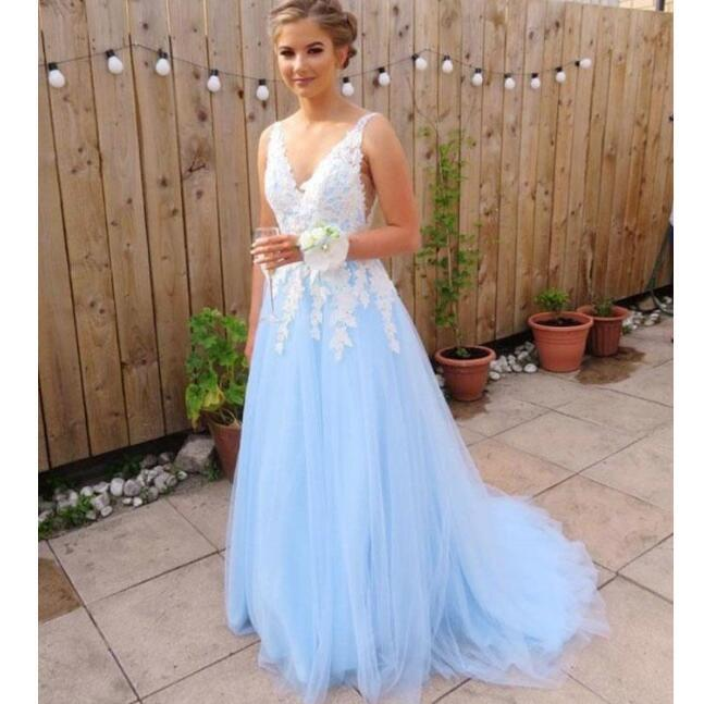 d524812d20 Blue V-neck Lace Aplliques Tulle Popular Formal Prom Dresses ...