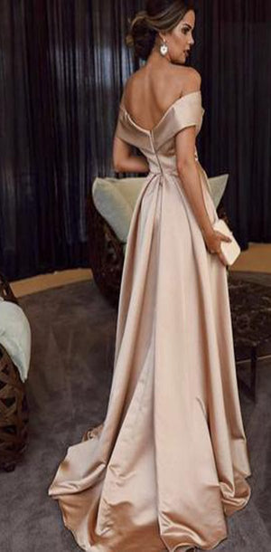 Blush Pink Girls Off Shoulder  Long Satin A Line Graduation Formal Prom Dresses, PD1061 - SposaBridal