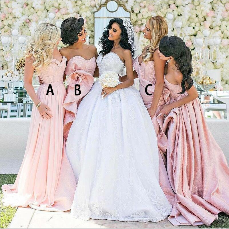 Blush Pink Mismatched  Modest Cheap Unique Design Lace up back Bridesmaid Dresses, WG264