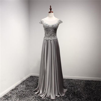 Cap Sleeves Scoop Silver Grey Bridesmaid Dresses, Lace Appliques High Quality Prom Dresses, PD0357