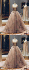 Champagne Deep V Neck Tulle Lace Appliques Fairy Prom Dresses, evening dress, PD0882 - SposaBridal