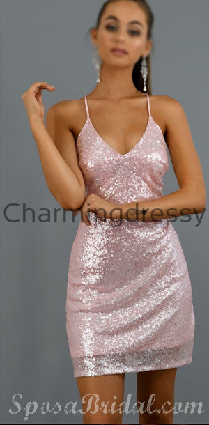 Chamring Sparkly Spaghetti Straps Sequin Pink Simple  Homecomg Dresses, Short Sexy Prom Dress,BD0409