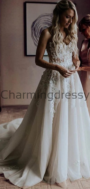 Charming Lace Vintage Long Sweetheart Popular Wedding Dresses WD0432