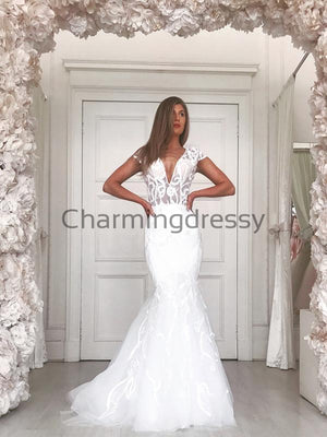 Charming Mermaid Elegant Unqiue Beach Wedding Dresses WD0434