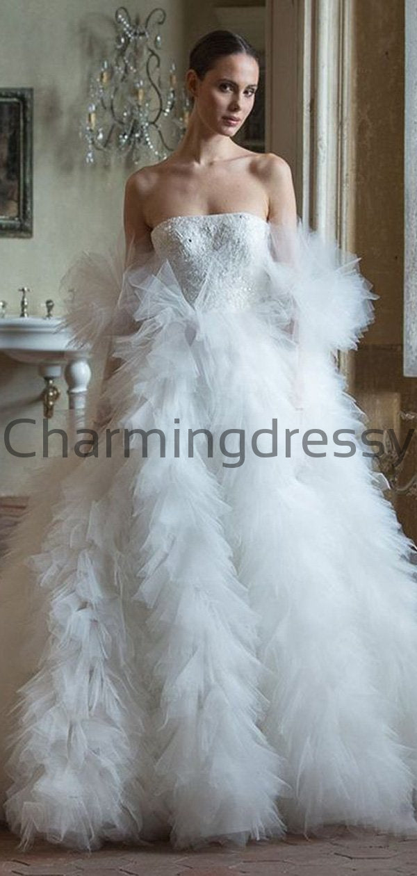 Charming Mermaid Tulle Country Princess Romantic Wedding Dresses WD0436