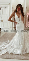 Charming Mermaid Unique Lace Dream Romantic Wedding Dresses WD0437