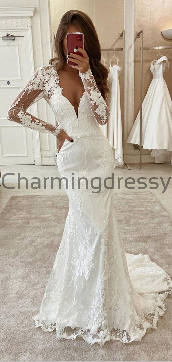 Charming Mermaid Unique Lace Long Sleeves Modest Wedding Dresses WD0438