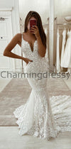 Charming Mermaid Unique Lace Vintage Tight Elegant Wedding Dresses WD0439