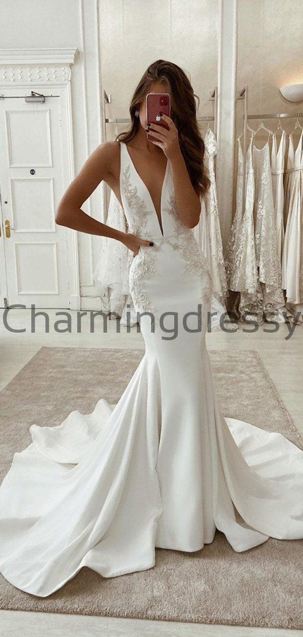 Charming Mermaid V-Neck Satin Simple Unique Lace Wedding Dresses WD0440