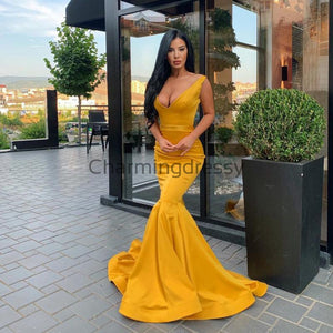 Charming Mermaid Yellow V-Neck Simple Modest Prom Dresses PD2172