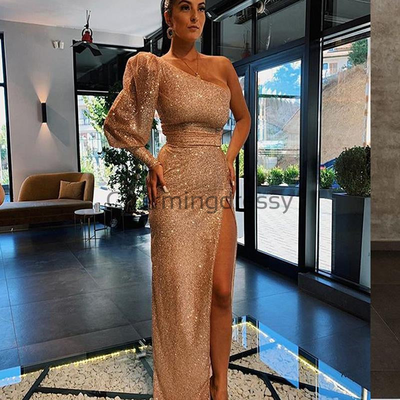 Charming One Shoulder Sparkly Sequin Mermaid Formal Prom Dresses PD2175