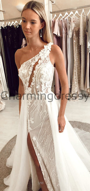 Charming One Shoulder Unique Lace Romantic Wedding Dresses WD0441