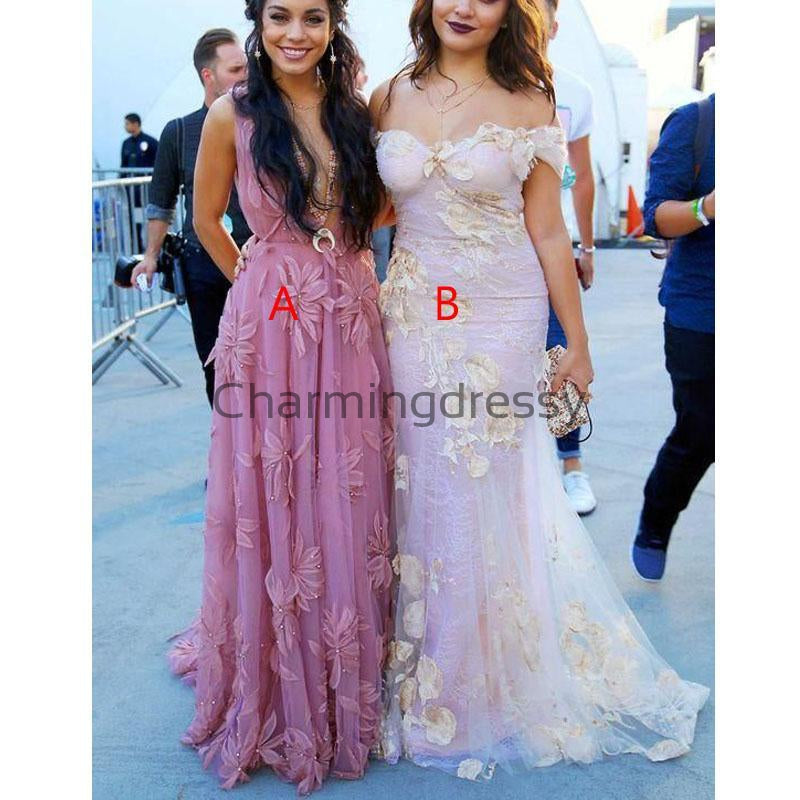 Charming Pink Tulle with Appliques Long Modest Prom Dresses PD2176