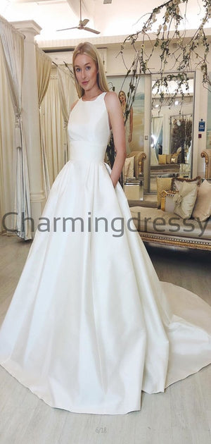 Charming Simple Satin A-line Elegant Modest Wedding Dresses WD0442