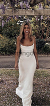 Charming Spaghetti Straps Simple Modest Beach Wedding Dresses WD0443