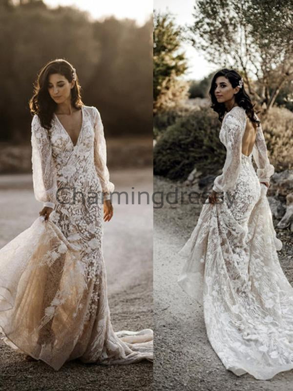 Charming Unique Lace V-Neck Long Sleeves Country Wedding Dresses WD0445