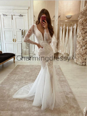 Charming Unique Lce Long Sleeves Wedding Dresses, Modest Prom Dresses WD0446