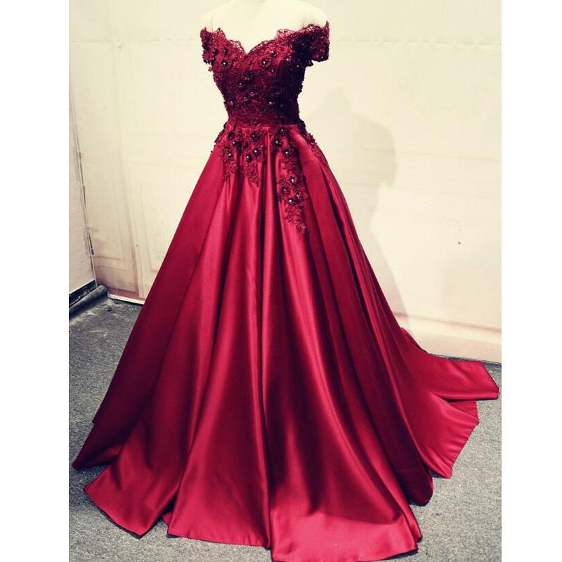 29535637226 Charming A-Line Off-the-Shoulder Pleated Burgundy Satin Prom Dress with  Appliques