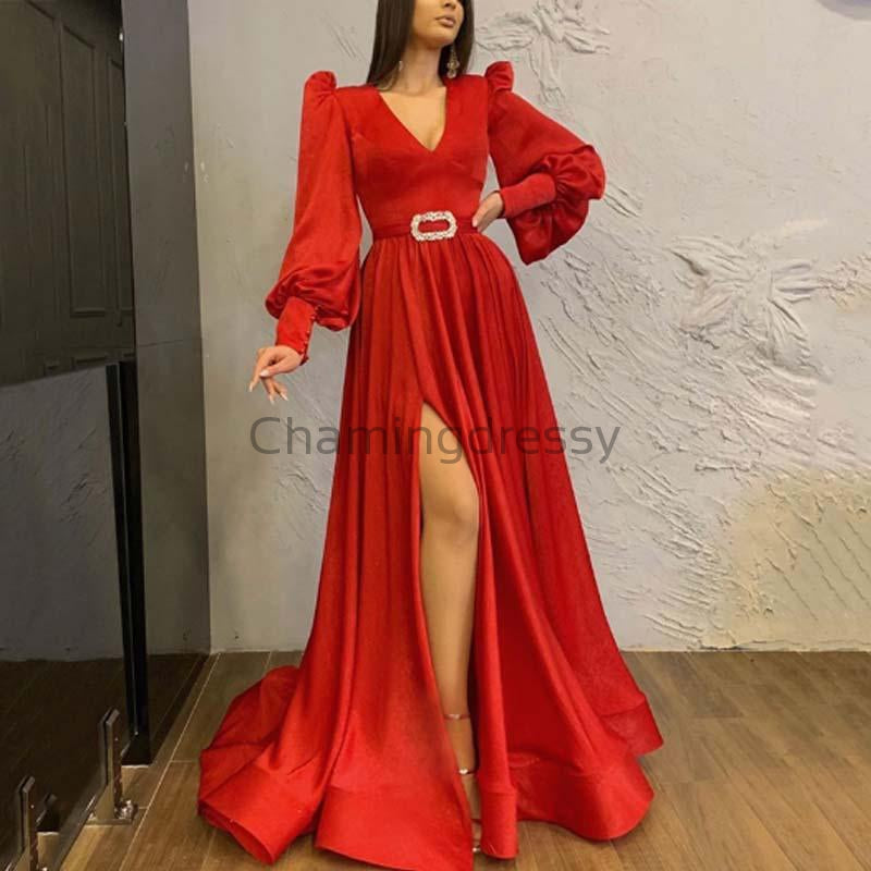 Charming A-line Long Sleeves V-neck Side Slit Unique Simple Prom Dresses PD1951