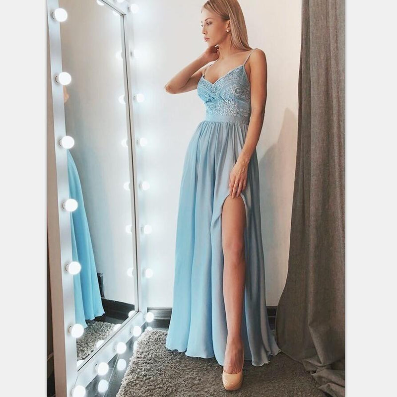 Charming Cheap A-Line Spaghetti Straps Blue Prom Party Dresses with Appliques, PD1224