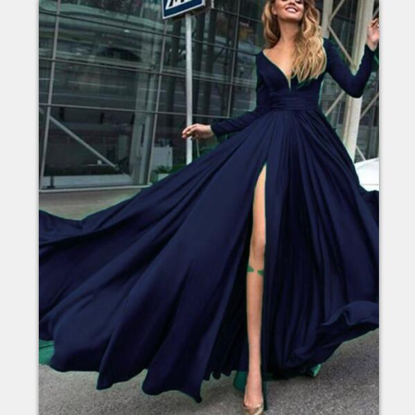 Charming Cheap Custom Long Sleeves Dark Blue Simple Soft Prom Dresses,PD0947