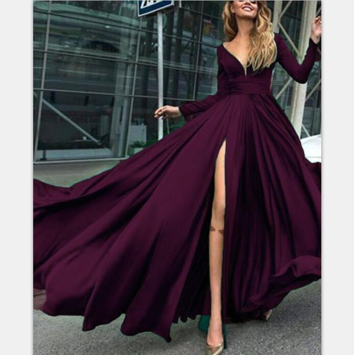 Charming Cheap Custom Long Sleeves Dark Burgundy Simple Soft Prom Dresses, evening dress, PD0948