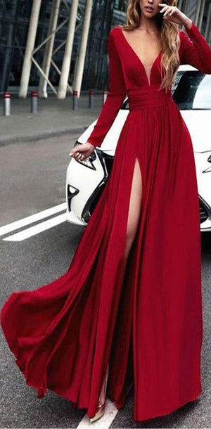 Charming Cheap Custom Long Sleeves Red Simple Soft Prom Dresses, evening dress, PD0949