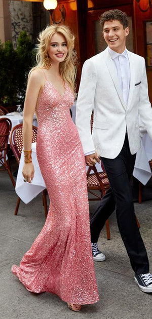 Charming Cheap Mermaid Spaghetti Straps Backless Long Pink Sequined Prom Dresses , PD0955
