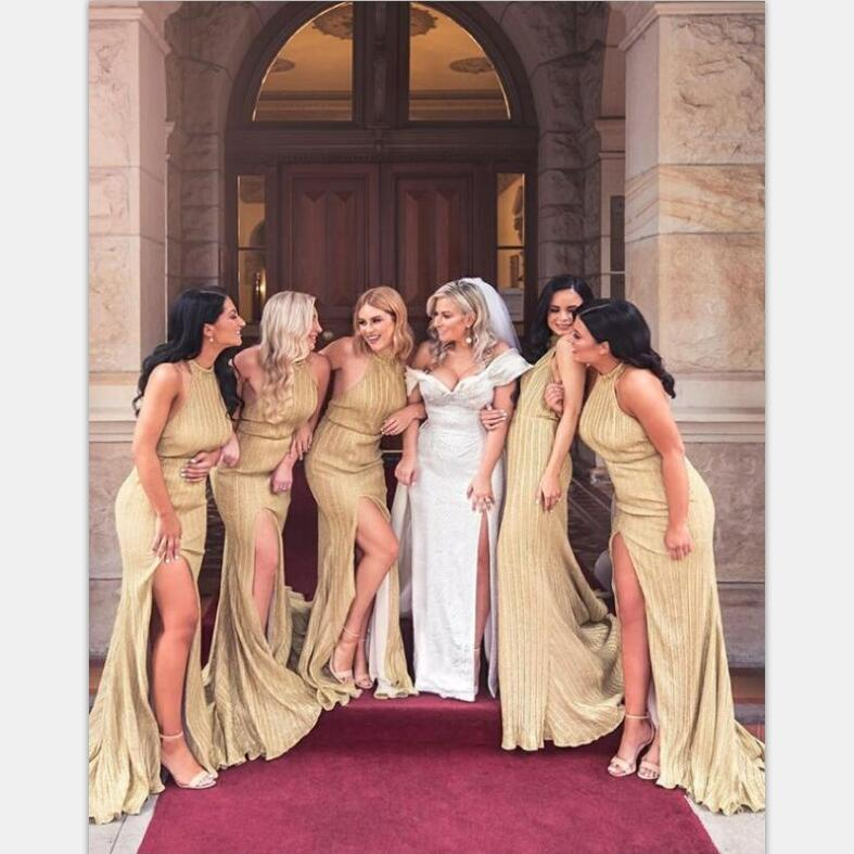 Charming Custom Sparkly Sheath Halter Backless Long Gold Bridesmaid Dresses with Split, WG398 - SposaBridal
