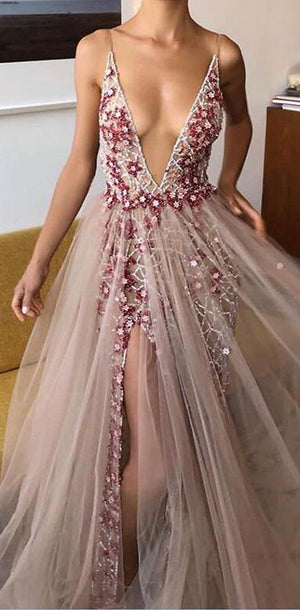 Charming Deep V-Neck TulleParty Cocktail Evening Long Prom Dresses Online, PD0906 - SposaBridal