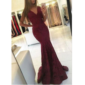 Charming Elegant Mermaid Red V-Neck  Prom Dresses, Lace Long Sexy Evening Dress , PD1062 - SposaBridal