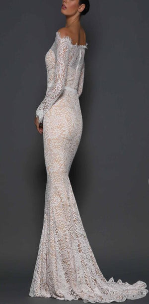 Charming Long Sleeves Full Lace Elegant Mermaid Prom Dresses, Popular Wedding Dresses, PD1063 - SposaBridal
