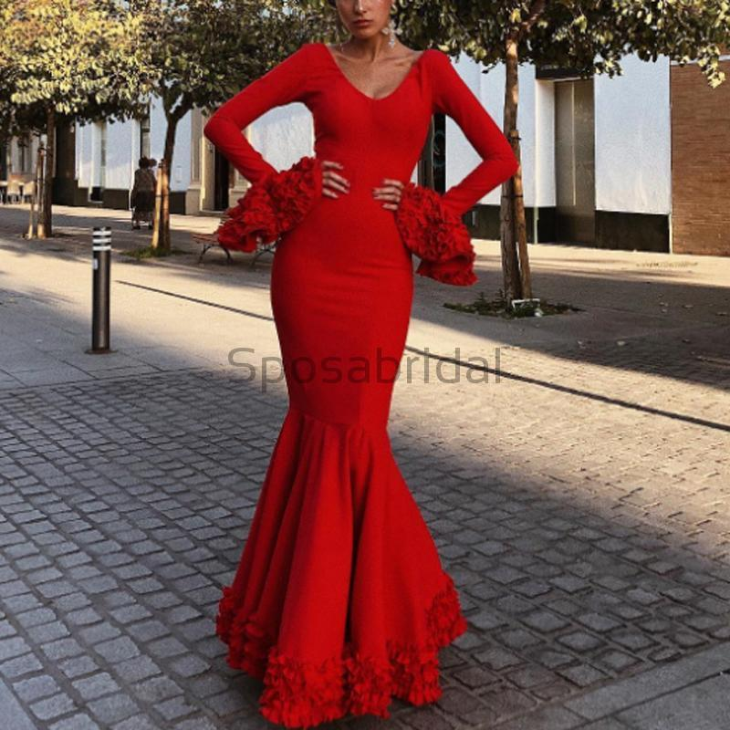 Charming Long Sleeves Red Mermaid V-Neck Fashion Formal Prom Dresse,evening dress PD1554