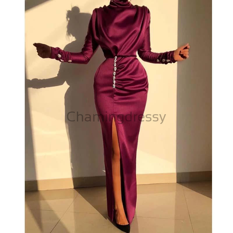 Charming Mermaid Purple Long Sleeves Hgh Neck Side Slit Unique Elegant Prom Dresses PD1952