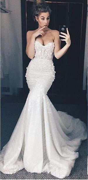 Charming Mermaid Sweetheart  Lace High Quality Pretty Elegant Long Prom Dresses, PD1077