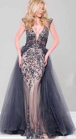 Charming Modest Unique Fashion Tulle with appliques Navy Prom Dress, prom dressess, PD0886 - SposaBridal