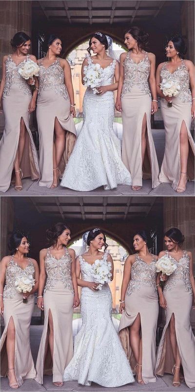 Charming New Arrival Elegant Long Cheap Modest Sexy Unique Mermaid V-Neck  High Quality Bridesmaid Dresses, WG265