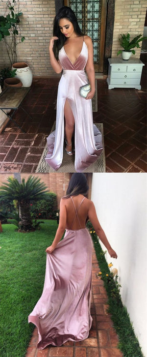 Charming New Sexy Simple Fashion Prom Dresses, Modern Slit Spaghetti Straps Prom Dress, PD0310