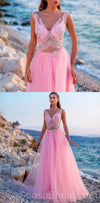 Charming Pink Tulle A-line Lovely Pretty V Neck Hot Save Long Prom Dresses, PD1220