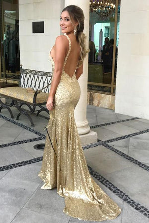 Charming Sequins Mermaid Modest Cheap Formal Long Prom Dress Backless Sexy Evening Dresses,PD0801