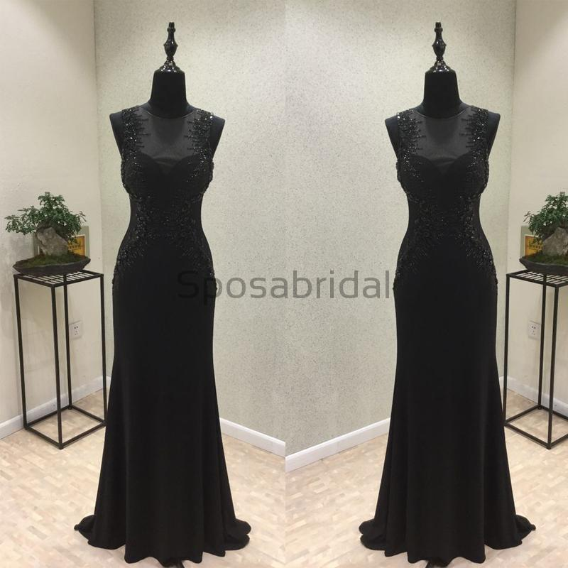 Charming Sexy Round Neck Black Beaded Formal Sparkly Modest Long Prom Dresses PD1562