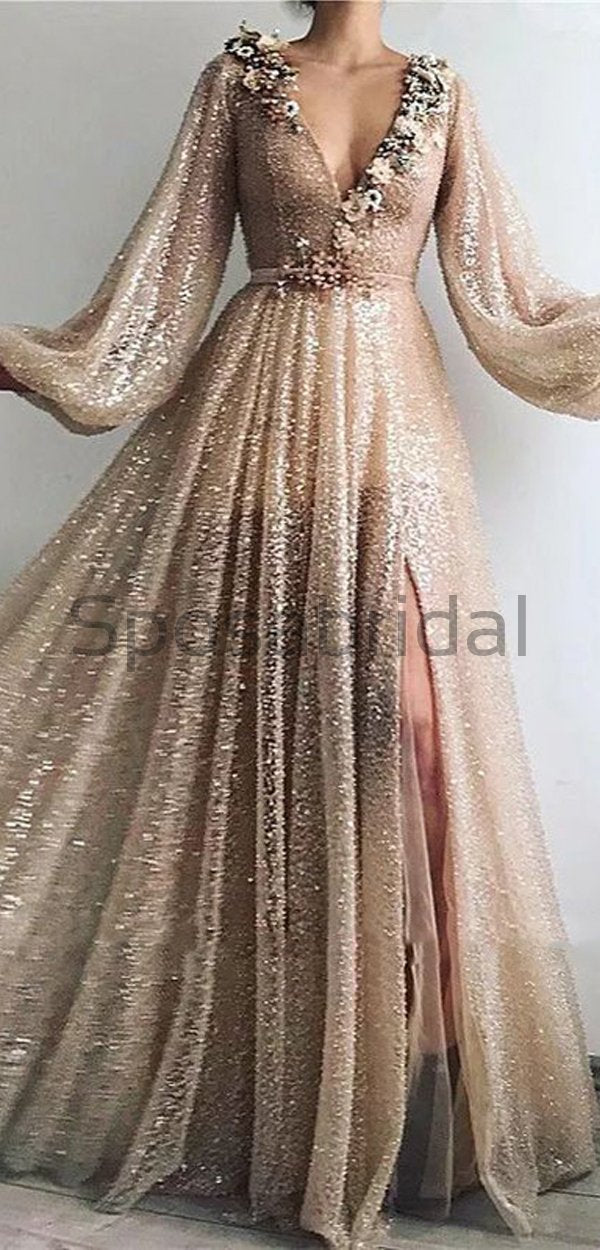 Charming Sexy V-neck Unique Design Formal Sparkly Modest Long Prom Dresses, Evening Dresses PD1563